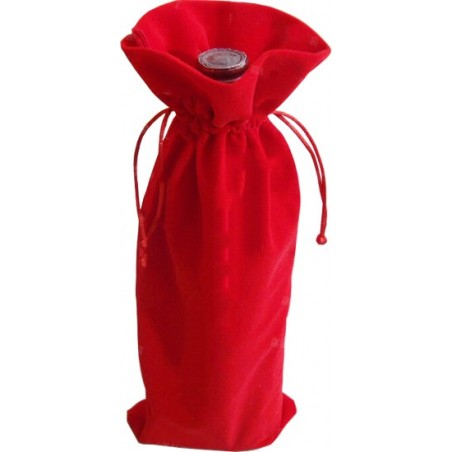 Sac Velours 1 Bouteille Rouge