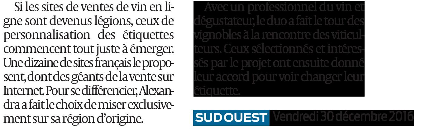 SudOuest - Mon Vin Personnalisé - Bouteille personnalisée