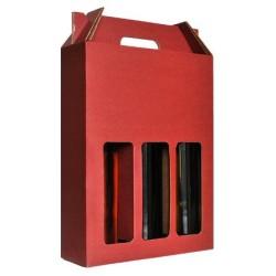 Valisette Carton lie de vin 3 bouteilles
